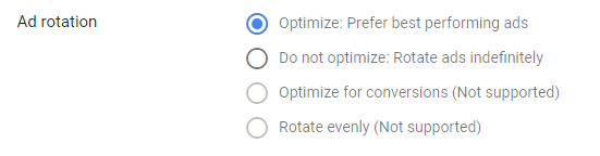 google ad rotation setting
