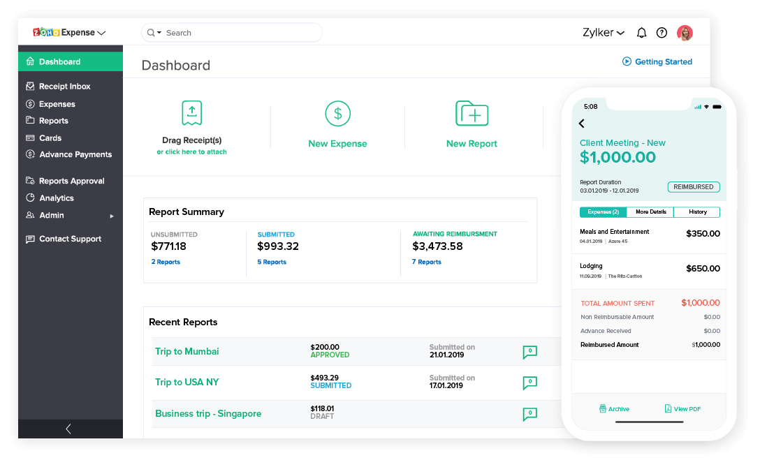 zoho expense saas accounting